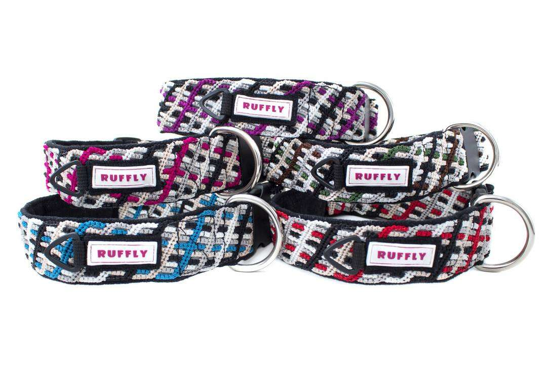 Outdoor collars in five unique colors and black fabric backing for large dogs