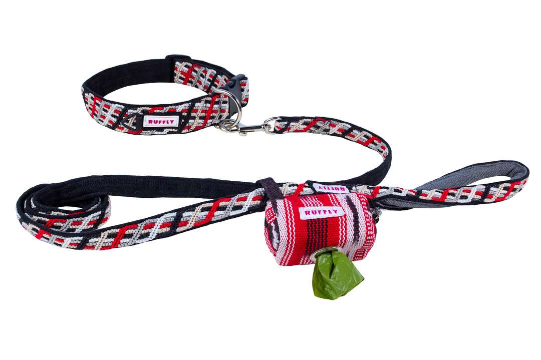 Outdoor dog gear kit of collar, leash, and poop bag holder in red and black
