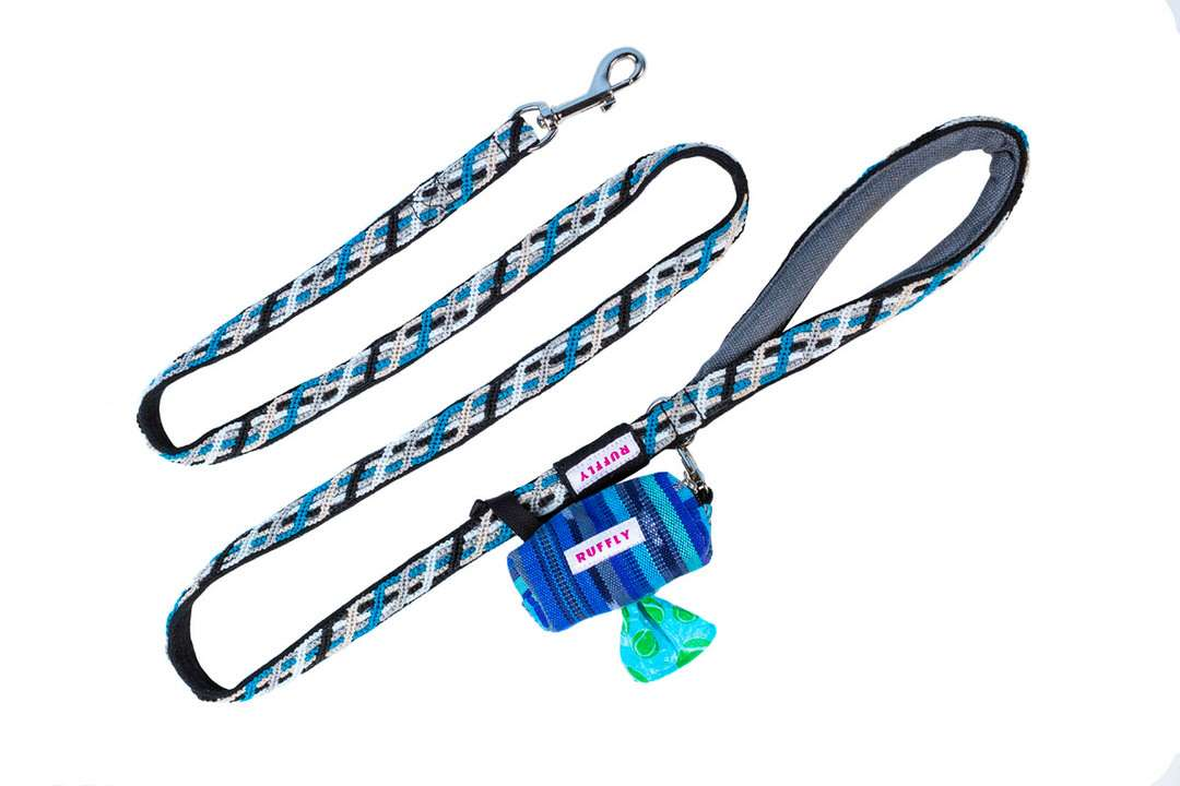 Blue Guatemala-made rugged dog leash with cushioned handle and D-ring for poop bag holder attachment