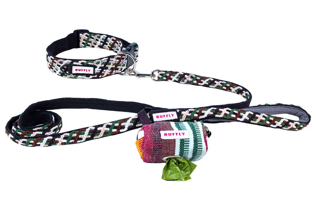 Heavy-duty outdoor dog leash in brown and green with matching large dog collar and poop bag holder