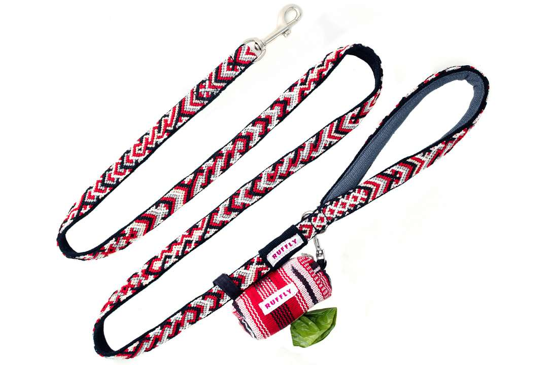 Pink and purple dog poop bag holder with stainless lobster clip and no-dangle leash attachment strap
