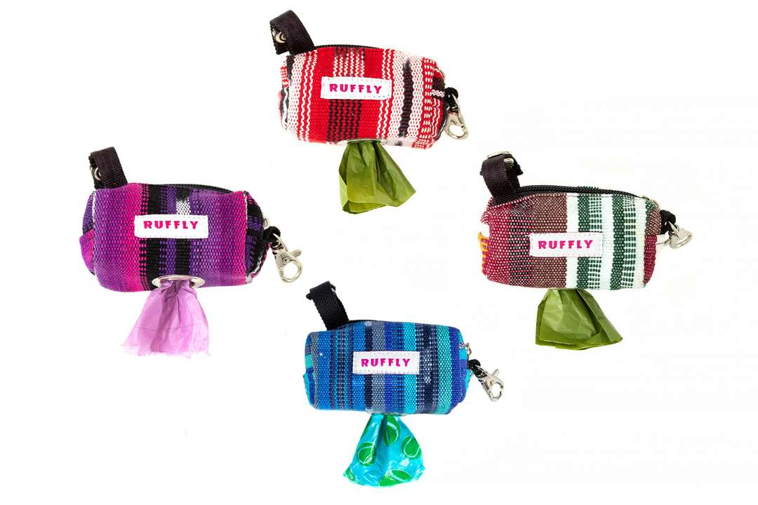 Dog poop bag holders in four unique color patterns on handwoven cotton fabric