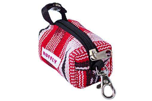 Red and black handwoven dog poop bag holder made by Guatemalan artisans with swivel clip and strap