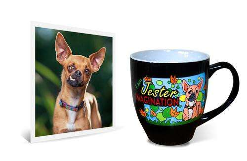 "Original photo beside 14oz ceramic latte mug with engraved and painted image of silly Chihuahua dog with text saying ""I am Jester Imagination"""
