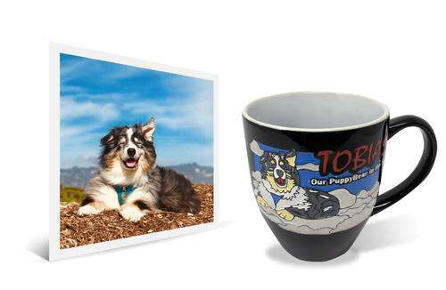 Original photo next to 14oz coffee mug with personalized engraved and painted image of black and white dog sitting on the clouds
