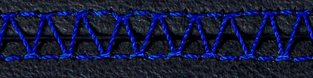 Royal Blue stitching for K9 Moto Cockpit motorcycle dog carrier upholstery