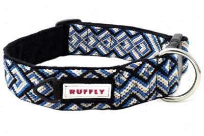 Top-front view of large blue handmade reflective dog collar made for outdoors