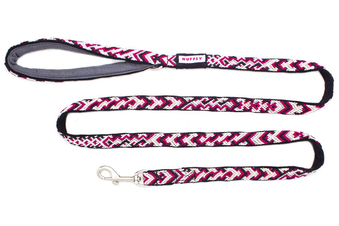 Artisan-made pink slender dog leash from Guatemala