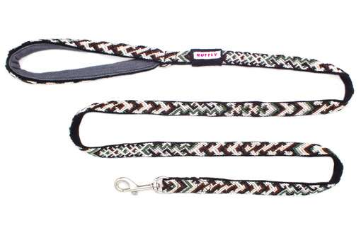 Tailwinds outdoor dog leash in Woodlands Brown-Green top view