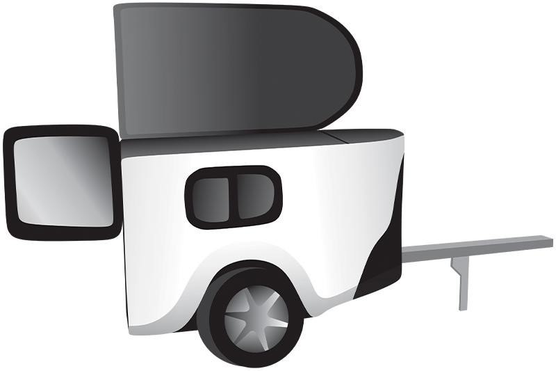 Simplified vector drawing of pet trailer for motorcycle