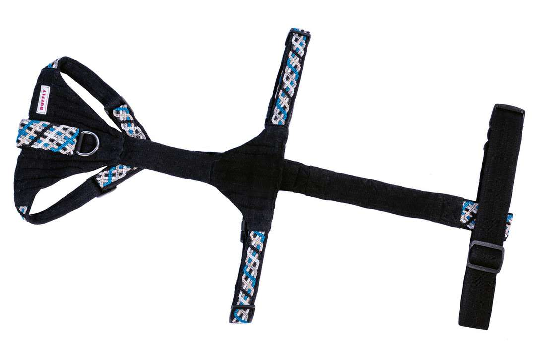 Complete bottom view of rugged blue and black motorcycle dog harness with reflective ribbon
