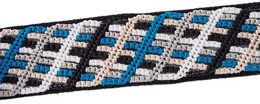 Closeup of thatched pattern blue knotted band on black handwoven cotton with reflective ribbon
