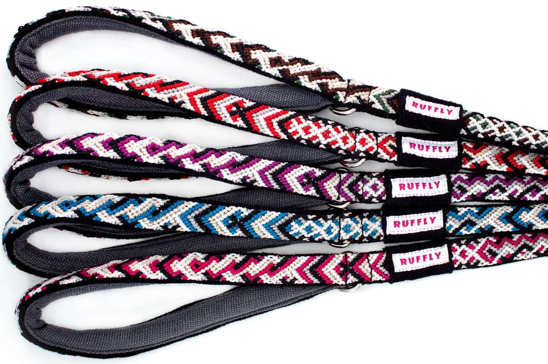 Slim, cushioned handles of elegant outdoor dog leashes in five vivid colors with slender shape