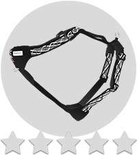 Dog harness in greyscale over five stars