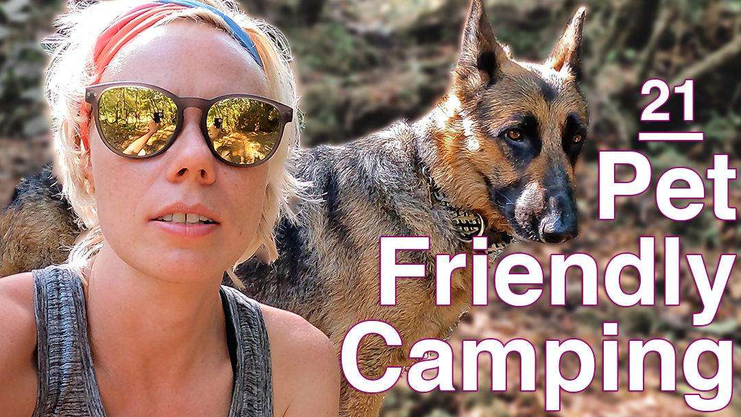 Blond woman with headband and sunglasses with German Shepherd dog in the woods at pet friendly campsite