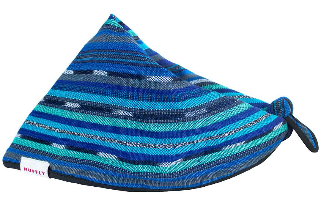 Side view of handwoven outdoor dog bandana in colorfast naturally dyed blue cotton