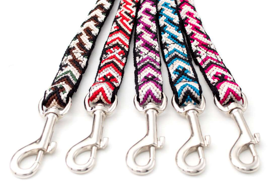 Durable outdoor dog leashes in five unique colors with stainless swivel clips