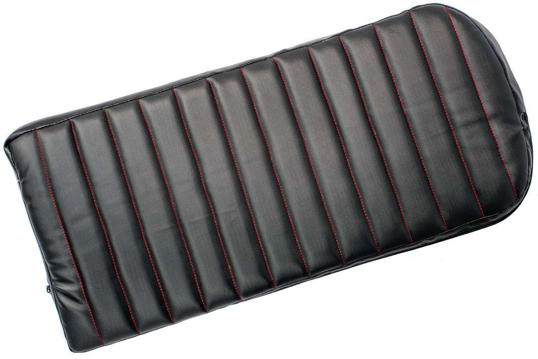 Top view of motorcycle dog carrier removable seat cushion in black vinyl and red crosswise stitching